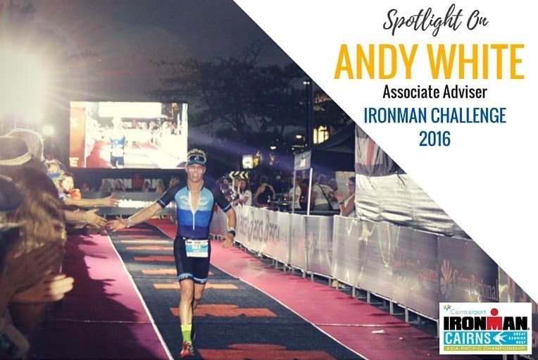 Our very own Associate Adviser, Andy White, crossing the line of the Ironman Challenge