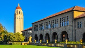 Palo Alto, CA, USA - Sept. 17, 2015: Stanford University Hoover Tower. Completed in 1941, the 50th year of Stanford University's anniversary, the tower was inspired by the cathedral tower in Salamanca, Spain.